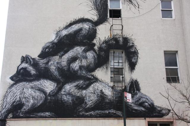 Werk van de Gentse street artist ROA