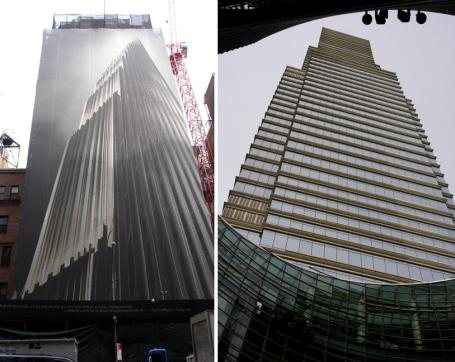 Links: 111 57th Street, in aanbouw. Voorziene hoogte 428 meter. De opening is gepland tegen 2018. Rechts: 731 Lexington Avenue, voltooid in 2004, hoogte 246 meter. Dit is het hoofdkwartier van Bloomberg LP, het bedrijf van de voormalige burgemeester en multi-miljardair Michael Bloomberg. Er zijn ook winkels, restaurants en luxe-flats in het gebouw.