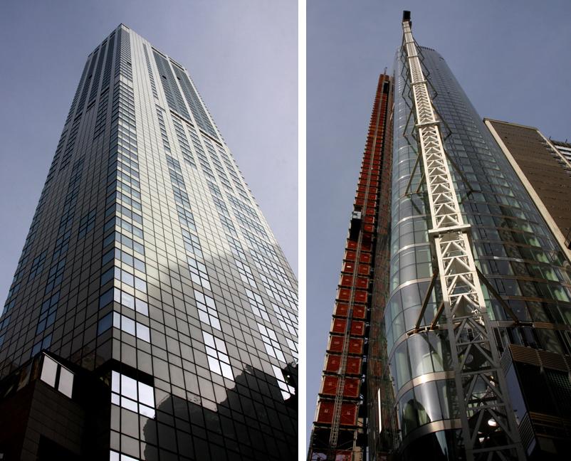 Links: W New York Downtown, voltooid in 2010, hoogte 190 meter. De witte, smalle toren staat aan de rand van het nieuwe World Trade Center. De onderste helft is een hotel. De bovenste helft, van het 33ste tot en met het 57ste verdieping is residentieel. Rechts: 50 West Street, hoogte 234 meter. De opening is gepland tegen eind 2016. De toren, op enkele minuten van het nieuwe World Trade Center en Wall Street, biedt panoramische zichten. Er komt een observatorium met verrekijkers, daktuin, barbecues, openlucht-keuken en privé-eethoeken.