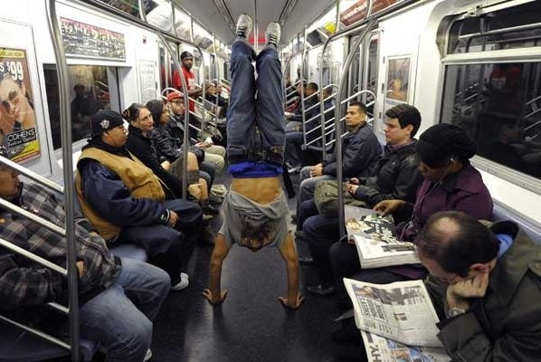 crowded-subway-car-and-suddenly-hearing-It's-showtime