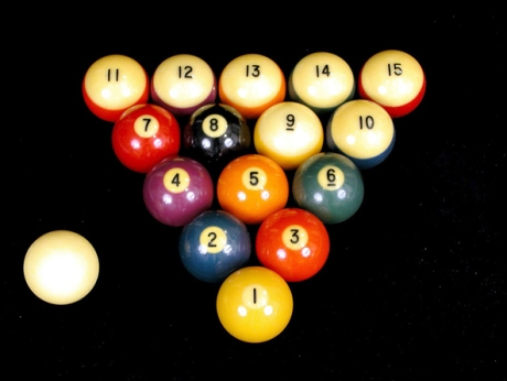 Bakelite Billiard Balls, circa 1930s, from the Amsterdam Bakelite Collection on view at the Hudson River Museum, Yonkers,