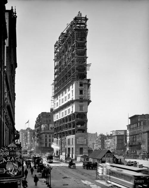 """De """"Flatiron onder constructie, 1901"""